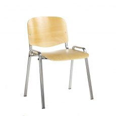 Nador Conference Chair Ply With Chrome Frame - Light Wood