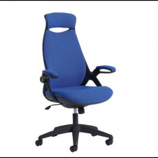Umara 650 Fabric Swivel Office Chair With Headrest - Blue