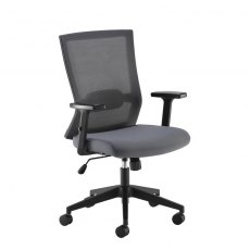 Wisto Mesh Back Swivel Office Chair Adjustable Arms - Grey