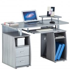 Tetra Desk With Cupboard & Drawers - Sliver Grey