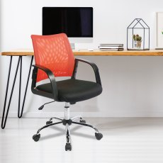 Ludwig Mesh Back Swivel Office Chair - Orange