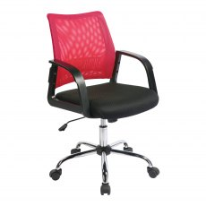 Ludwig Mesh Back Swivel Office Chair - Rasberry
