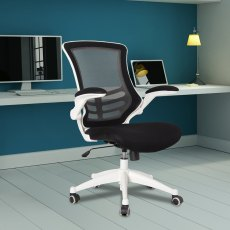 Meir Mesh Back Office Swivel Chair - Black on White