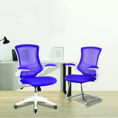 Meir Mesh Back Office Swivel Chair - Blue on White