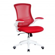Meir Mesh Back Office Swivel Chair - Red on White
