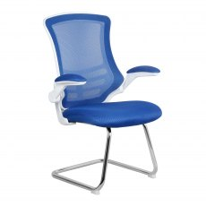 Meir Mesh Back Visitors Chair - Blue on White