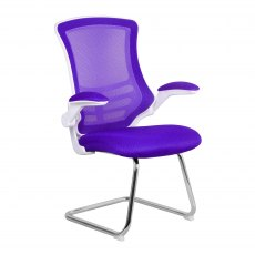 Meir Mesh Back Visitors Chair - Purple on White