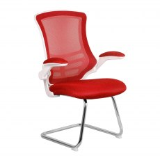 Meir Mesh Back Visitors Chair - Red on White