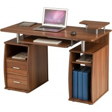 Tetra Desk With Cupboard & Drawers - Brown Oak