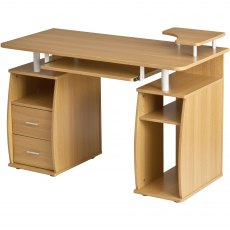 Tetra Desk With Cupboard & Drawers - Oak