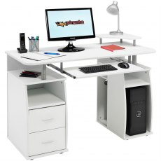 Tetra Desk With Cupboard & Drawers - White