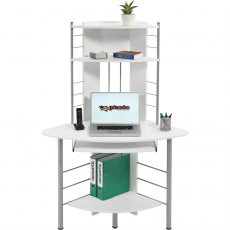 Oscar Tall Corner Desk & Workstation - White