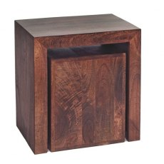 Toko Cubed Nest Of 2 Tables - Dark Mango Wood