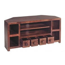 Toko Dark Mango Corner TV Unit with Drwers