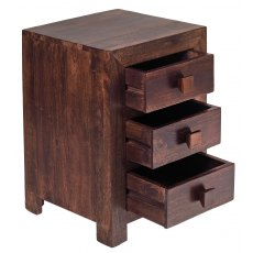 Toko Dark Mango 3 Drawer Bedside Table