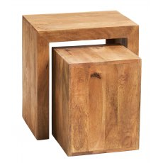 Toko Cubed Nest Of 2 Tables - Light Mango Wood