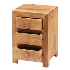 Toko 3 Drawer Bedside Table - Light Mango Wood
