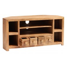 Toko Corner TV Unit with Drawers - Light Mango Wood