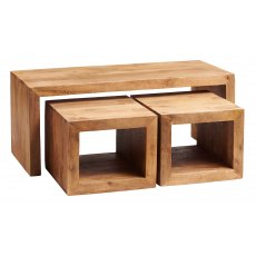 Toko Cubed John Long Coffee Table - Light Mango Wood