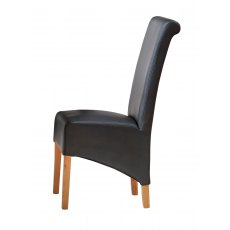 Leather Dining Chairs Matching Our Toko Light Range x 2 - Black