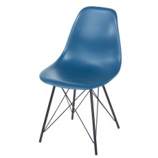 Pair of Blue Davos Dining Chairs - Navy Blue