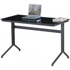 Capelin Glass Desk - Black