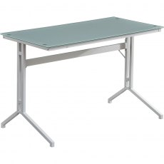Capelin Glass Desk - White