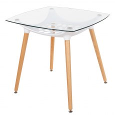 Alpine Square Clear Glass Top Table - White