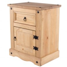 Tolland One Drawer One Cupboard Bebside Cabinet - Pine