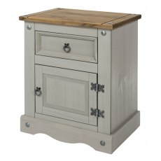 Tolland One Drawer One Cupboard Bebside Cabinet - Grey