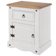 Tolland One Drawer One Cupboard Bebside Cabinet - White