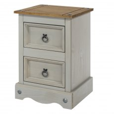 Tolland 2 Drawers Bedside Cabinet - Grey
