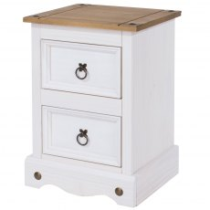 Tolland 2 Drawers Bedside Cabinet - White