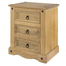 Tolland 3 Drawers Bedside Cabinet