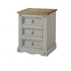 Tolland 3 Drawers Bedside Cabinet - Grey