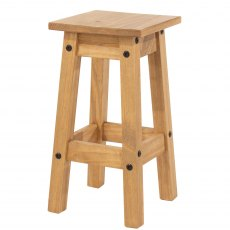 Pair of Tolland Low Kitchen Stools- Pine