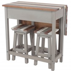 Tolland Breakfast Drop-leaf Table & 2 Stools Set - Painted Wood - Grey