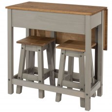 Tolland Breakfast Drop-leaf Table & 2 Stools Set - Grey