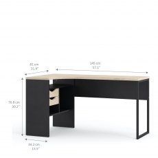 Tarm 2 Drawers Corner Desk - Black