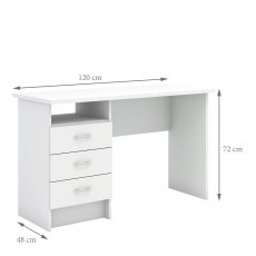 Tarm 3 Drawers Desk - White