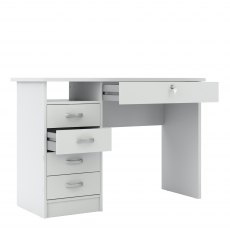 Tarm 5 Drawers Desk - White