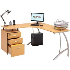 Regal Reversible Corner Desk With A4 Filing - Beech