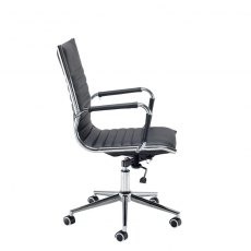 Kojo Padded Swivel Office Chair - Black and Chrome