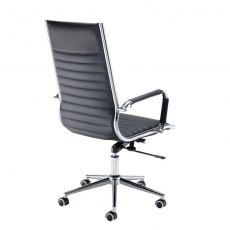 Kojo High Back Swivel Office Chair - Black and Chrome