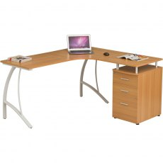 Regal Reversible Corner Desk With A4 Filing - Oak