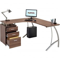 Regal Reversible Corner Desk With A4 Filing - Dark Walnut