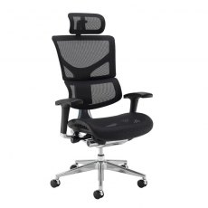 Kleon Max Mesh Swivel Office Chair With Headrest - Black