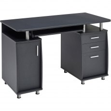 Emperor Desk With Cupboard & Drawers - Graphite Black