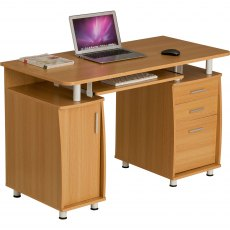 Emperor Desk With Cupboard & Drawers - Oak