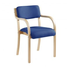 Nesta Wooden Frame Conference Chair With Arms - Blue